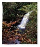 High Angle View Of A Waterfall, Glenoe Fleece Blanket