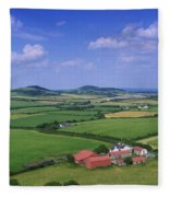 High Angle View Of Fields, Stradbally Fleece Blanket