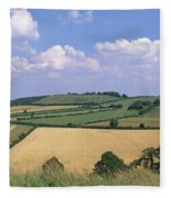 High Angle View Of Patchwork Fields Fleece Blanket