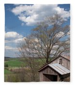 Hillside Weathered Barn Dramatic Spring Sky Fleece Blanket