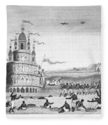 Hindu Sacrifice, 1837. /ndevotees In India Sacrifice Themselves To The Idol Juggernaut. Line Engraving, 1837 Fleece Blanket