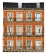 Historic Facade At Plaza Mayor In Madrid Fleece Blanket