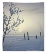Hoar Frost Covering Trees And Barbed Fleece Blanket