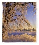 Hoar Frost On Tree, Milton, Prince Fleece Blanket
