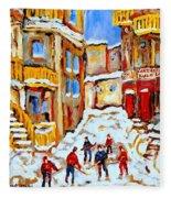 Hockey Art Montreal City Streets Boys Playing Hockey Fleece Blanket