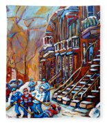 Hockey Art Montreal Streets Fleece Blanket