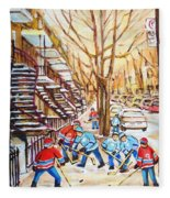 Hockey Game Near Winding Staircases Fleece Blanket