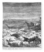 Hog Driving, 1868 Fleece Blanket