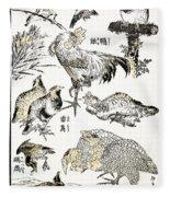 Hokusai: Birds Fleece Blanket