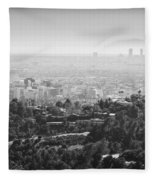 Hollywood From Above Fleece Blanket by Ricky Barnard