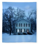 Home On A Wintery Evening Fleece Blanket