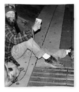 Homeless With Faithful Companion Fleece Blanket