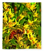 Honey Bee And Sedum  Fleece Blanket