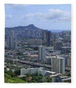 Honolulu And Diamond Head Fleece Blanket