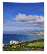 Honolulu From Diamond Head Fleece Blanket