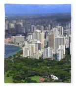 Honolulu Hawaii And Waikiki Beach Fleece Blanket
