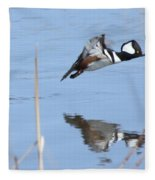 Hooded Merganser Flying Fleece Blanket