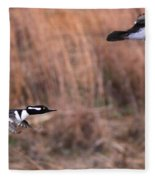 Hooded Merganser Gaining Altitude Fleece Blanket