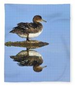 Hooded Merganser Reflection Fleece Blanket