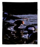 Hooded Mergansers And Moon Glare Fleece Blanket