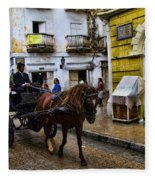 Horse And Buggy In Old Cartagena Colombia Fleece Blanket