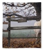 Horse At Fence Fleece Blanket