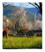 Horse At Field Fleece Blanket