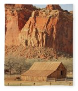 Horse Barn In Fruita Utah Fleece Blanket