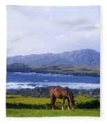 Horse Grazing In A Field, Beara Fleece Blanket