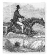Horse-jumping, 1852 Fleece Blanket