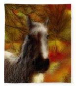 Horse On The Farm Fleece Blanket