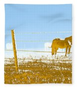 Horse Pasture Revblue Fleece Blanket