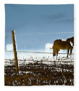 Horse Pasture Revdkblue Fleece Blanket