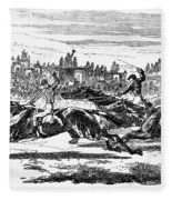Horse Racing, 1857 Fleece Blanket
