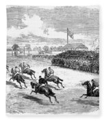 Horse Racing, 1870 Fleece Blanket