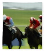 Horse Racing, Ireland Jockeys Racing Fleece Blanket