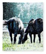 Horse Tails Color Splashed Fleece Blanket