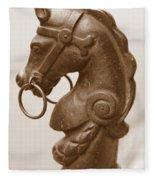 Horse Tether In New Orleans - Sepia Fleece Blanket