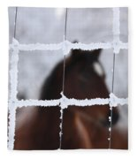 Horse Viewed Through Frost Covered Wire Fence Fleece Blanket
