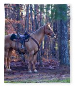 Horse Waiting For Rider Fleece Blanket