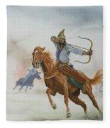Horsemen From The Steppes Fleece Blanket