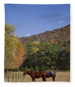 Horses And Autumn Landscape Fleece Blanket