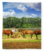 Horses At The Ranch Fleece Blanket