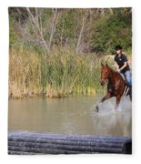 Horses Dont Like Water Fleece Blanket