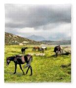 Horses Of Wyoming Fleece Blanket