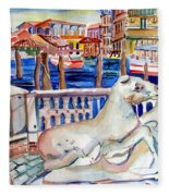Horses On The Grand Canal Of Venice Fleece Blanket