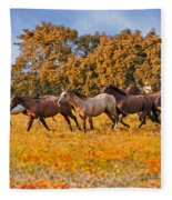 Horses Running Free Fleece Blanket