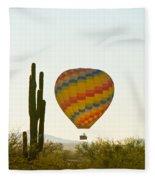 Hot Air Balloon In The Arizona Desert With Giant Saguaro Cactus Fleece Blanket