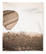 Hot Air Balloon On The Arizona Sonoran Desert In Bw  Fleece Blanket