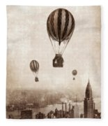 Hot Air Balloons Over 1949 New York City Fleece Blanket